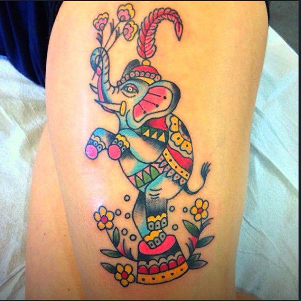 Circus elephant on thigh. #elephant #circuselephant #traditionaltattoo #tattoo