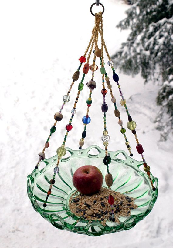Large Beaded Green Bowl Candle Holder Bird by leeannsvintagedecor