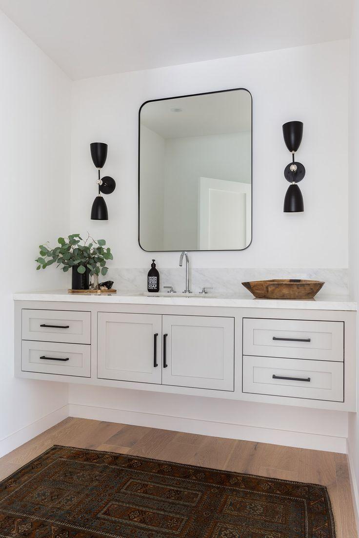 A Malibu Oasis By Kristen Marie Inc Rue Modern Farmhouse Bathroom Floating Vanity Bathroom Bathrooms Remodel [ 1104 x 736 Pixel ]