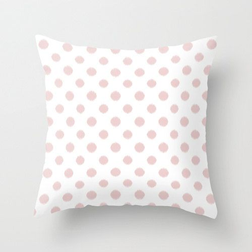 Light Pink Ruffle Throw Pillow : Velveteen Pillow - Polka Dot Throw Pillow - Light Pink - Pale Pink - Ikat - Fashion Pillow ...