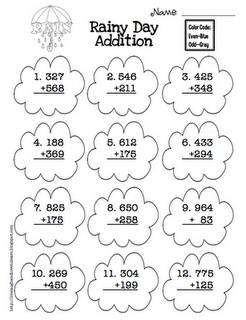 It's another rainy day here! Why not embrace it with this free rainy day addition worksheet?