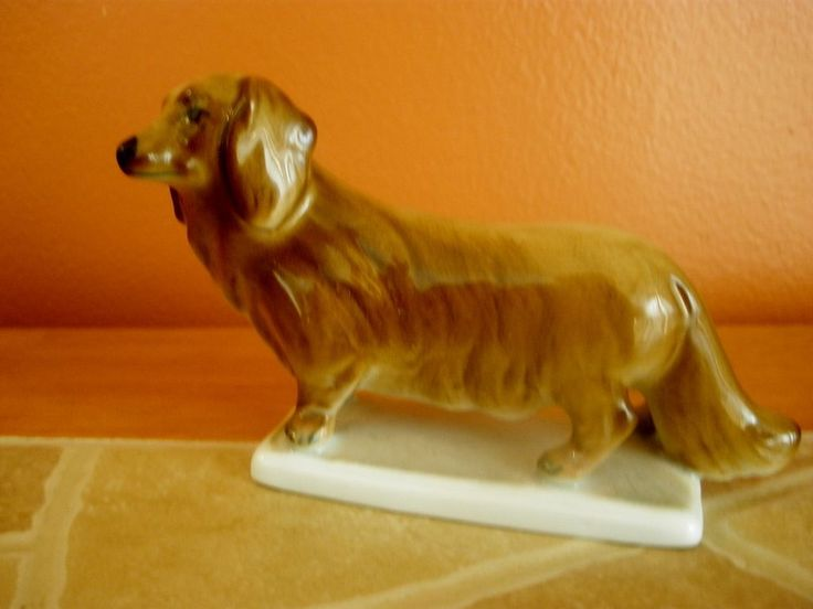 Vintage Zsolnay Hungary Doxie Long Haired Dachshund Dog