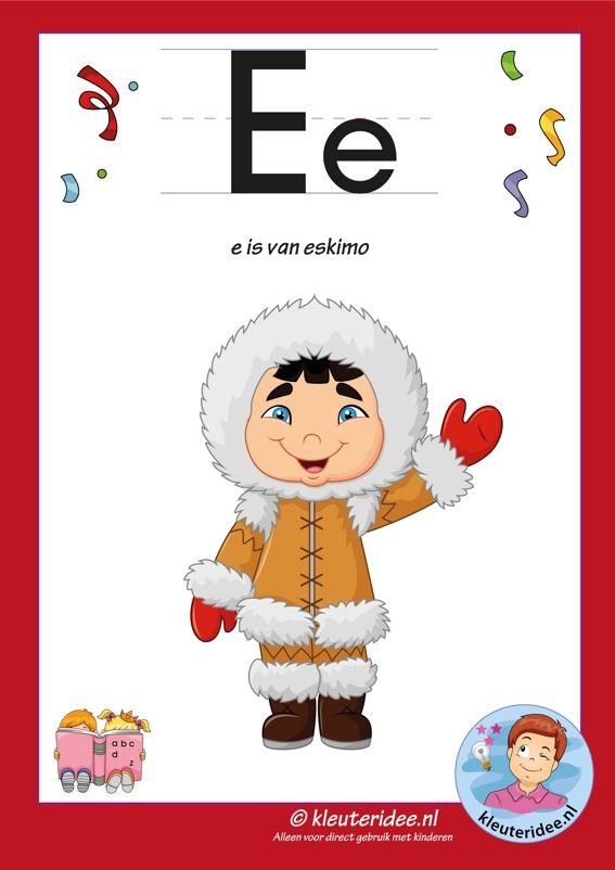 Pakket over de letter e blad 2, letterkaart, kleuteridee.nl, letters aanbieden aan kleuters,free printable.