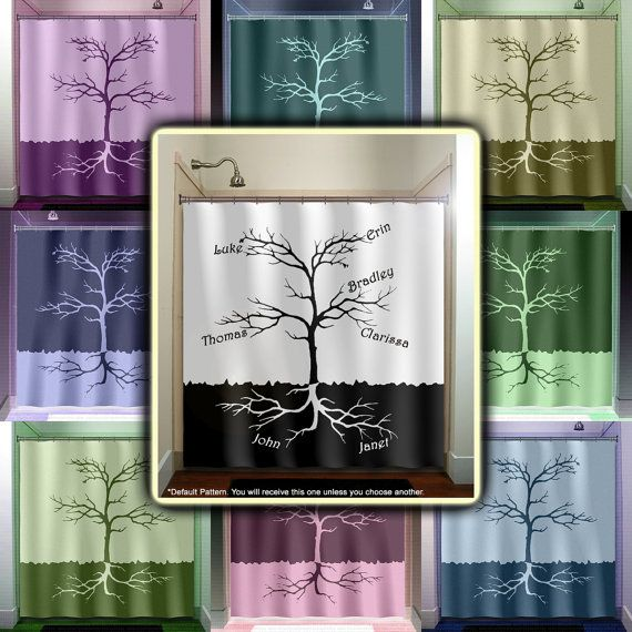 Custom Names Root Family Tree Shower Curtain Bathroom Decor Fabric Kids Bath Window Curtains Panels Valance Bathmat
