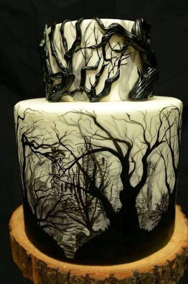 black forest cake; dark castles, dark woods, tiered cake, gnarled tree ...