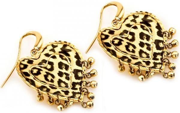 """Zlaté dámske náušnice """"hearts of leopard"""" zo 14 karátového žltého zlata"""