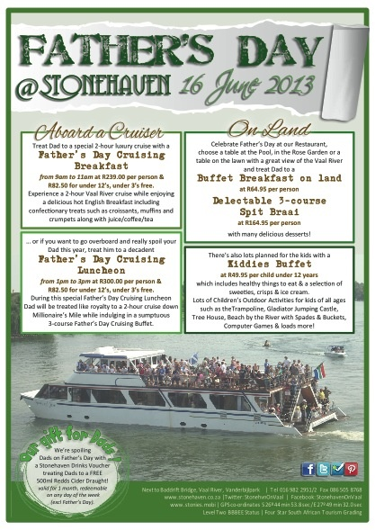 Celebrate Fathers Day on the banks of the Vaal River