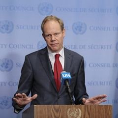 Ambassador Matthew Rycroft speaks to the United Nations Security Council