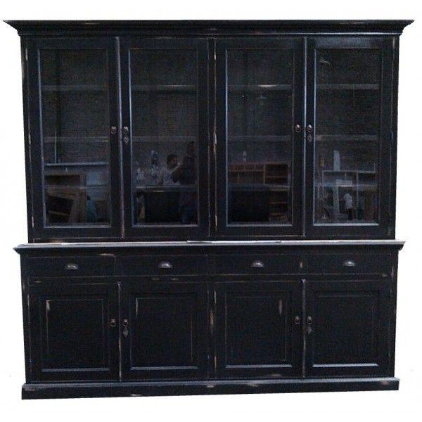 Winkelkast antiek zwart door geschuurd Haarlo 220cm authentiek sfeervolle zwarte buffetkast antiek afgwerkt