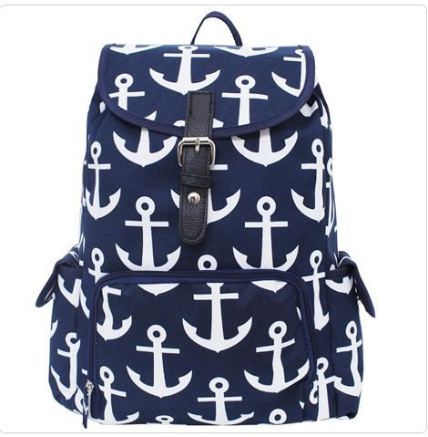 Anchor Print Large School Backpack by Thepinkalligatorshop on Etsy, $35.00