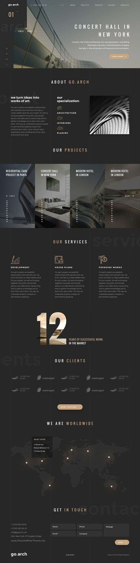 Gold and grey colour scheme , classic visual appeal on this website