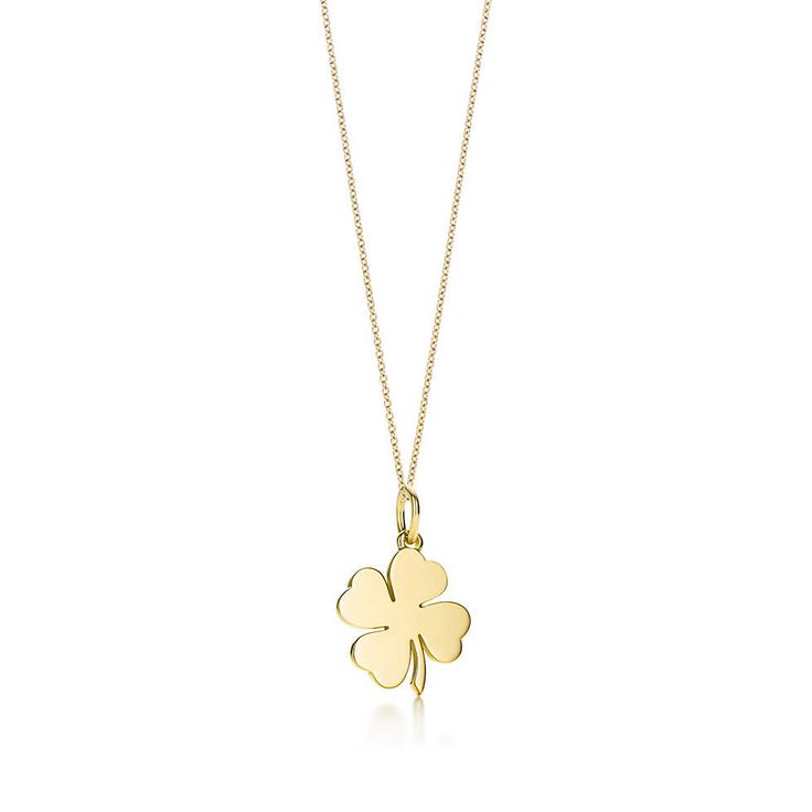 Four Leaf Clover charm in 18k gold, on a chain. | Tiffany & Co.