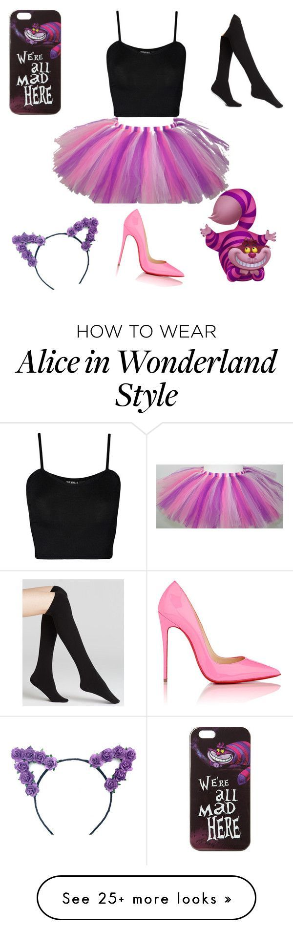 """DIY your photo charms, 100% compatible with Pandora bracelets. Make your gifts special. """"Cheshire Cat Costume"""" by mizaelp on Polyvore featuring Disney, WearAll, Plush and Christian Louboutin"""