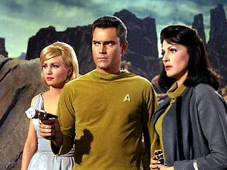 The first original series pilot, The Cage. Featured is Captain Christopher Pike. To his left (our right) is Majel Barrett, who played Nurse Chapel throughout the rest of the series.