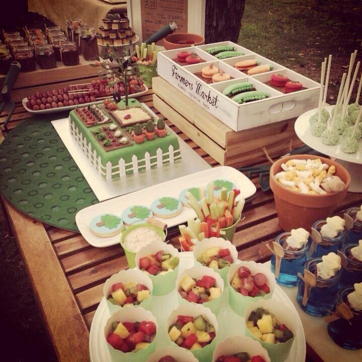 Backyard/garden/veggie themed sweets/dessert table