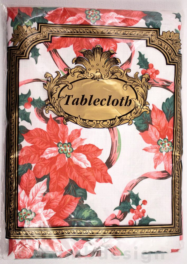 "Christmas Linen Oblong Tablecloth Poinsettia Ribbon White Red Green NIP 60""x84"" 