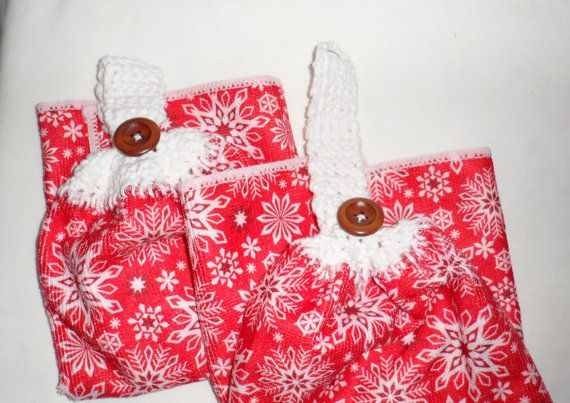 Christmas Kitchen Hand Towels/Crocheted Tops by BAGLADYFROMTHEBAY