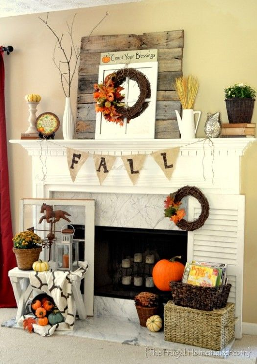 Fall Mantel - note planks on mantel, small bench with lantern and weather vane