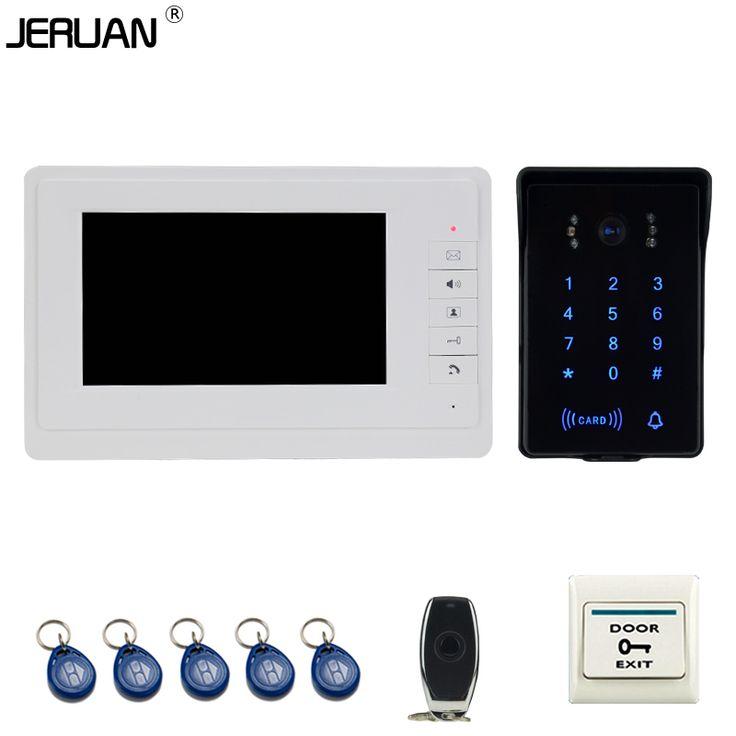 JERUAN Rumah kabel 7 ''Warna LCD video doorphone intercom sistem Sentuh Key kamera 700TVL password keypad RFID tahan air