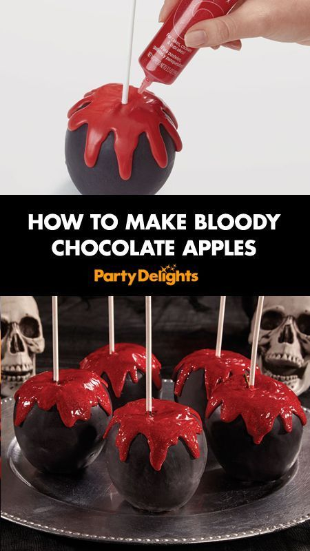 Looking for easy Halloween party food ideas? Follow our easy step-by-step tutorial to find out how to make bloody chocolate apples. A simple but impressive Halloween food idea!