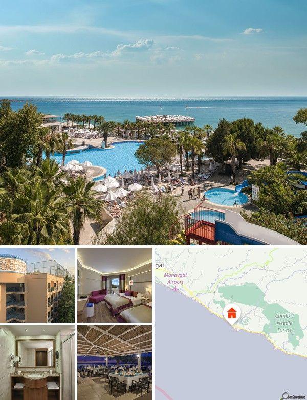 Dit aantrekkelijke strandhotel bevindt zich midden in een schitterende, 75000 vierkante meter grote tuin en bevindt zich direct aan het lange, brede zand-/kiezelstrand in de vakantieregio Incekum. Naar Manavgat en Alanya is het ongeveer 30 km. Hiernaartoe rijdt ´s ochtends en ´s avonds een shuttleservice. Naar het vliegveld van Antalya is het ongeveer 90 kilometer.