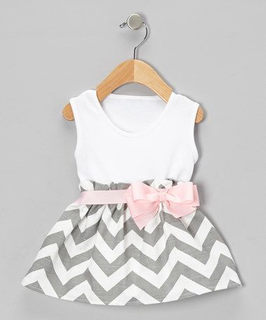 Look what I found on #zulily! Gray Zigzag Bow Dress - Infant & Toddler by Caught Ya Lookin' #zulilyfinds