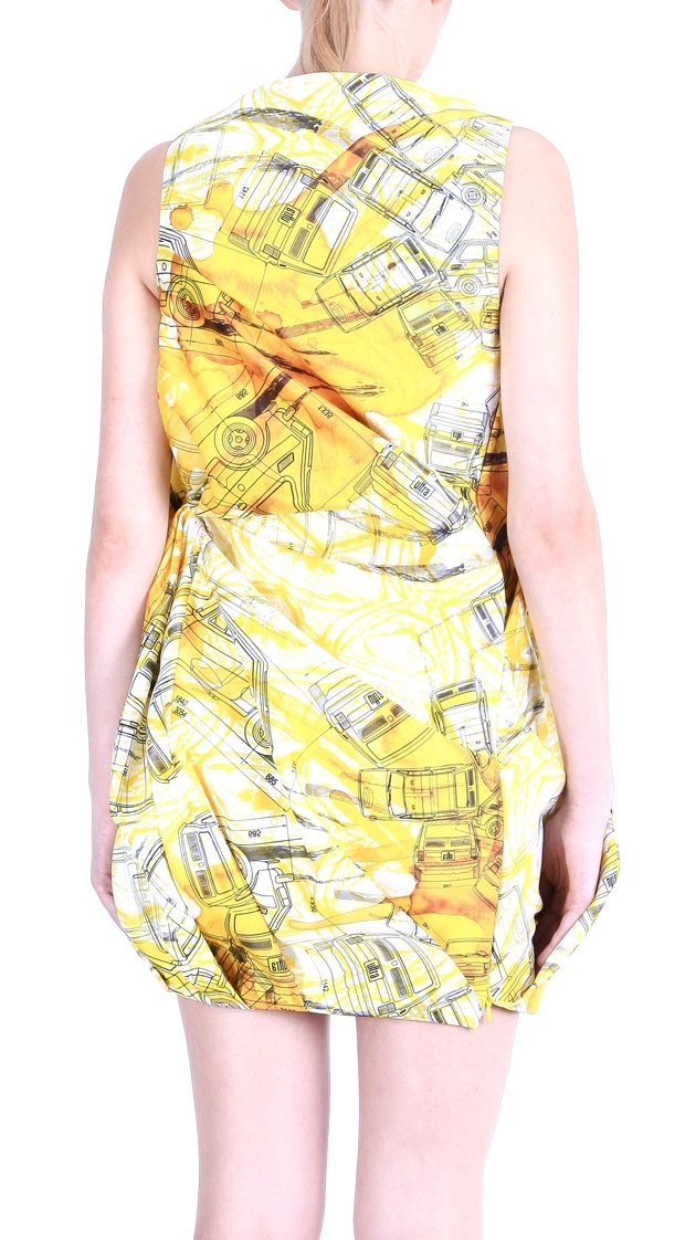 """Back view: Dress ( printed satin, """"Fiat 126p """" pattern), shoes ( leather, stainless-steel heel)"""