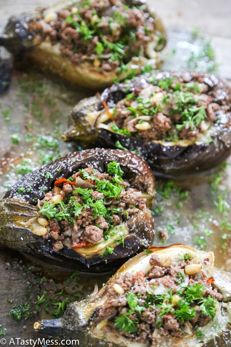 Stuffed Baby Eggplants Eggplant is often used as a meat substitute because of its hearty texture, but in this recipe, you can have both. Get all the veggie-riffic fiber and cancer-fighting compounds from the eggplant without missing out on the protein from the garlicky ground beef mixture in this super-substantial meal.