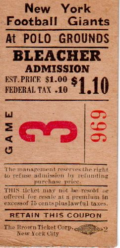NY Giants Ticket 1940's by goggle5, via Flickr Vintage / Old NYC