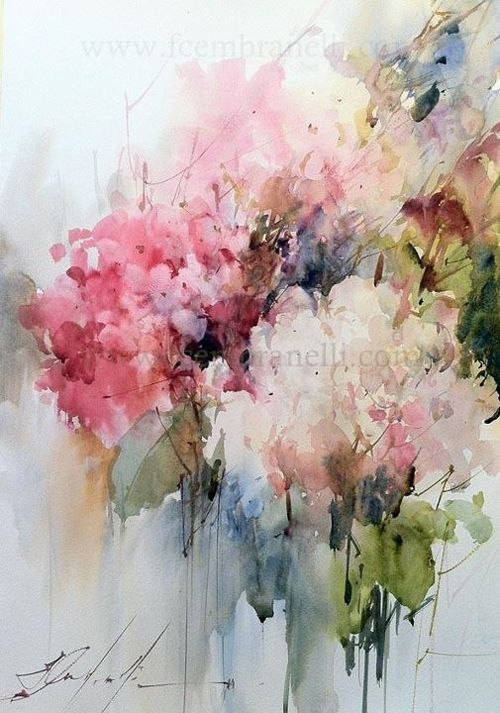 I ADORE this abstract watercolor floral by artist Fabio Cembranelli.