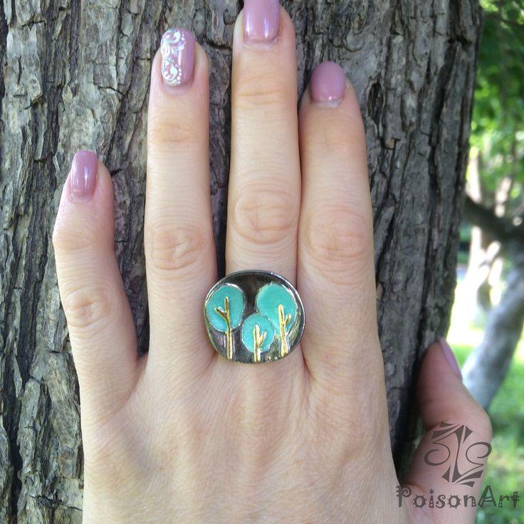 """New enamel silver ring """"Mint forest"""" 🌳🌳🌳 The emerald forest was planned, but mint colour turned out, it is even better 😜, in my opinion 😍. (silver 999, gold 24k, enamel)"""