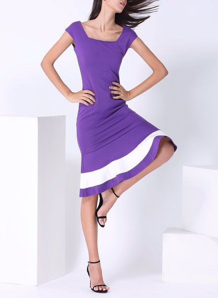 Purple Cocktail Color-block Sheath Midi Dress
