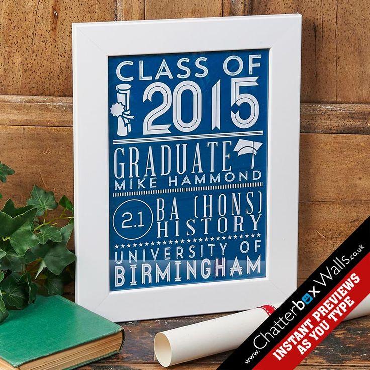 Personalised Class of 2015 Graduation print