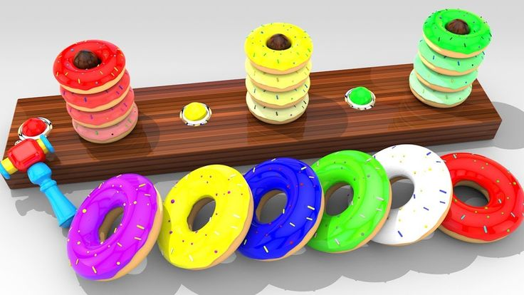 Learn Colors for Children with  Wooden 3D Doughnut Toy For Kids Toddler ...