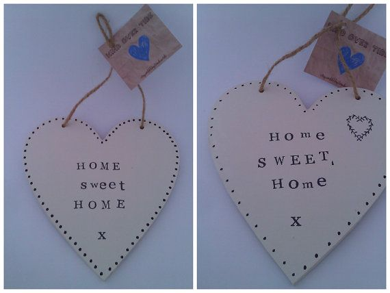 Wooden Hanging Heart Home Sweet Home Thank You by Windovertide