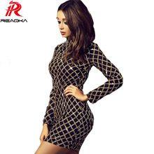 Reaqka Autumn Winter Black Long Sleeve Sequins Dress 2017 Sexy Bodycon Sheath Gold Pattern High Neck Party Dresses Nightclub Hot(China)
