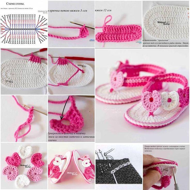 Sandalias de crochet de bebé - http://blogmujer.org/sandalias-de-crochet-de-bebe/