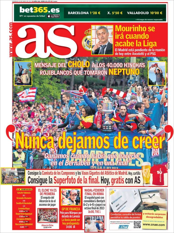 Los Titulares y Portadas de Noticias Destacadas Españolas del 19 de Mayo de 2013 del Diario Deportivo AS ¿Que le parecio esta Portada de este Diario Español?