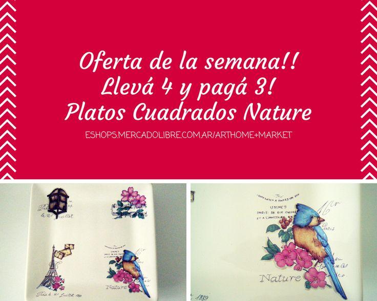 Oferta de la semana!! Llevá 4 al precio de 3 - Platos cuadrados de cerámica grandes, línea Nature