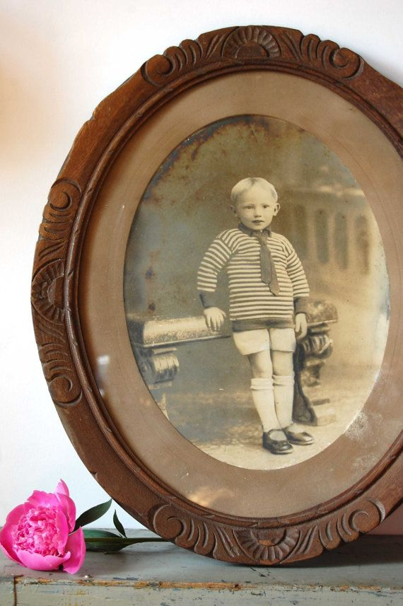 Antique picture frame Big oval picture with by TallinnVintage
