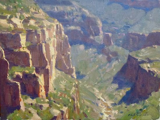 Cliffs At Salt River Canyon by Robert Goldman Oil ~ 9 x 12