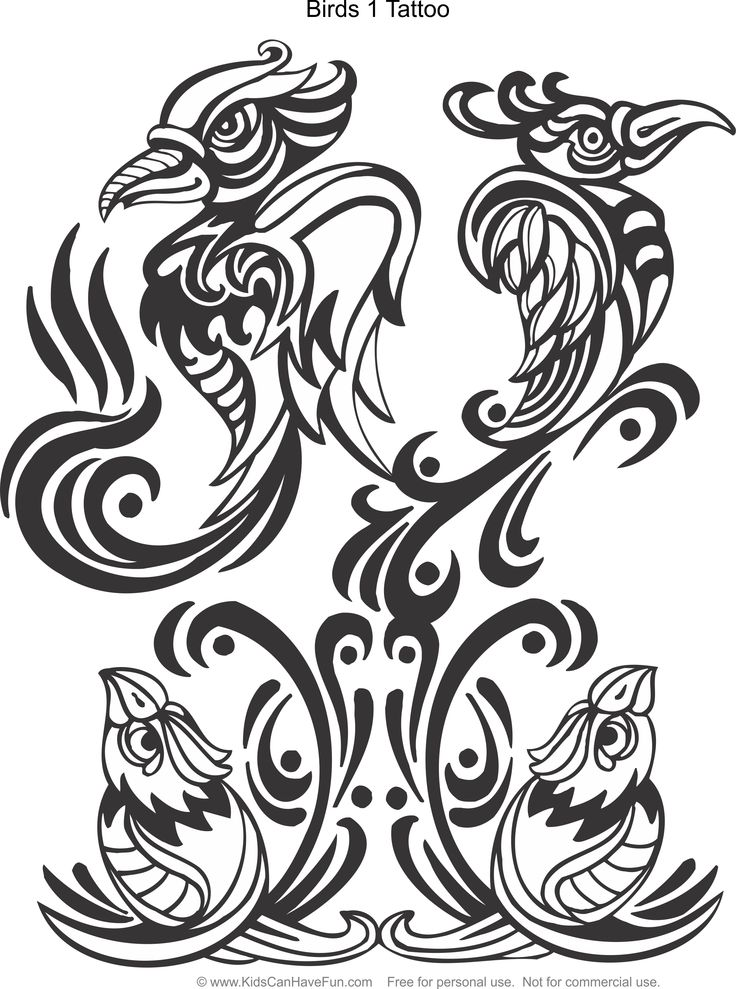 Birds 1 tattoo design coloring page httpwww, love birds coloring pages