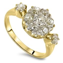 1.00cts Diamond Antique Cluster Ring