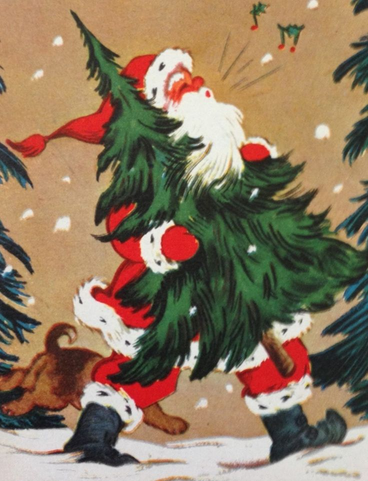 Bringing home the tree - Vintage Christmas card