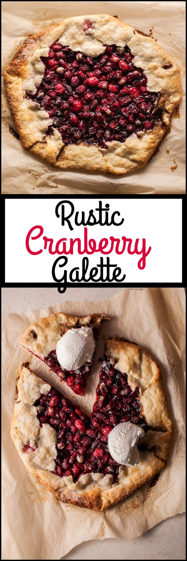 My rustic cranberry galette is a festive fall/winter/holiday dessert that will look beautiful on your table and delight your guests' tummies.