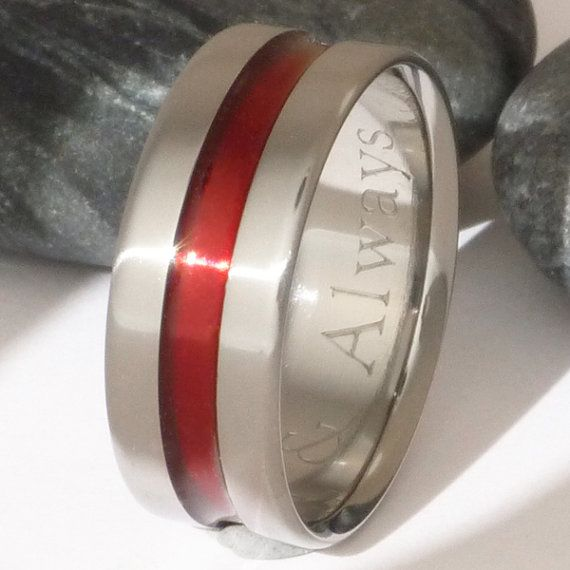 Firefighter S Thin Red Line Anium Wedding Band Promise Ring Wide I Want This Pinterest Engagement Rings And