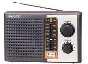 """Sony Icf-f10 Fm/am Two 2 Band Am Fm Portable Battery Transistor Radio by Sony. $12.99. FM / AM two band radio Big speaker - high power output Long battery life (up to 200 hours) Includes earphone jack for discreet listening Includes hand strap for easy carrying Uses 2 """"D"""" size batteries (not included) Retro design BRAND NEW IN BOX"""