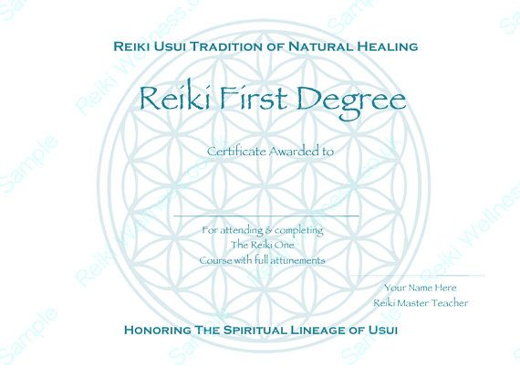 Reiki Certificates Templates x4  Flower Of Life   Complete