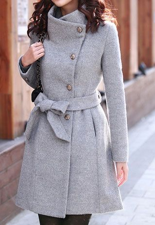 European Style Slim Bowknot Sash Pure Color Worsted Coat  http://www.pinterest.com/adisavoiaditrev/