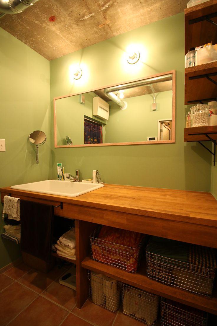 造作洗面台/洗面室/ナチュラル/リフォーム/リノベーション/インテリア/施工例/いえラボ/washstand/lavatory/powderroom/bathroom/vanity/natural/design/interior/house/homedecor/renovation